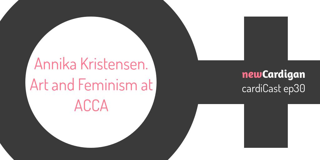 Text 'Annika Kristensen. Art and Feminism at ACCA' inside a 'female' symbol