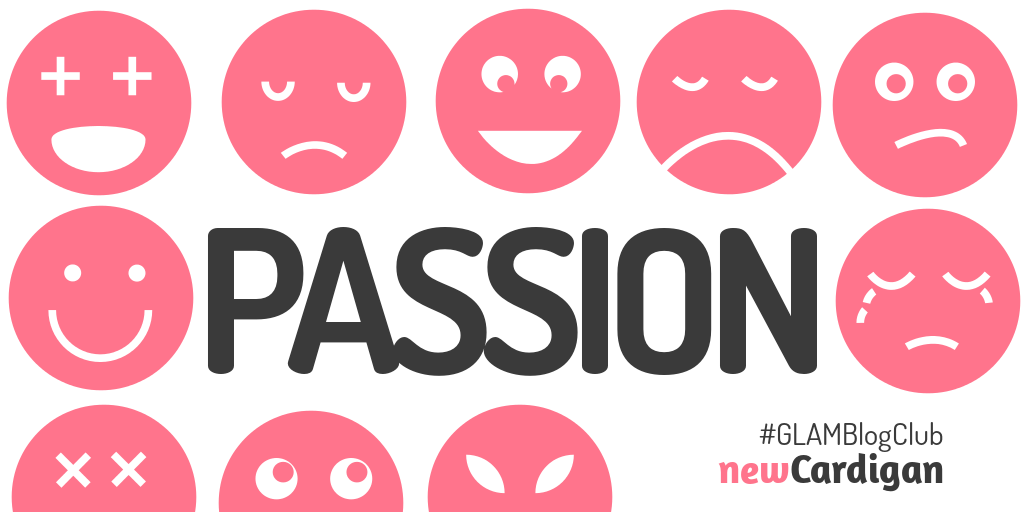The word 'PASSION' surrounded by pink faces in different expressions