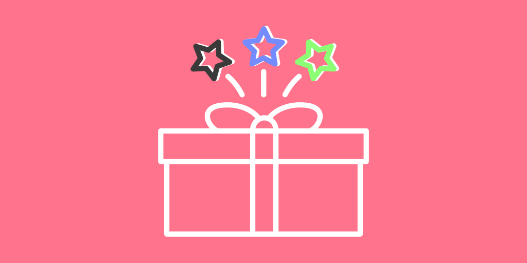 image of a present with three stars