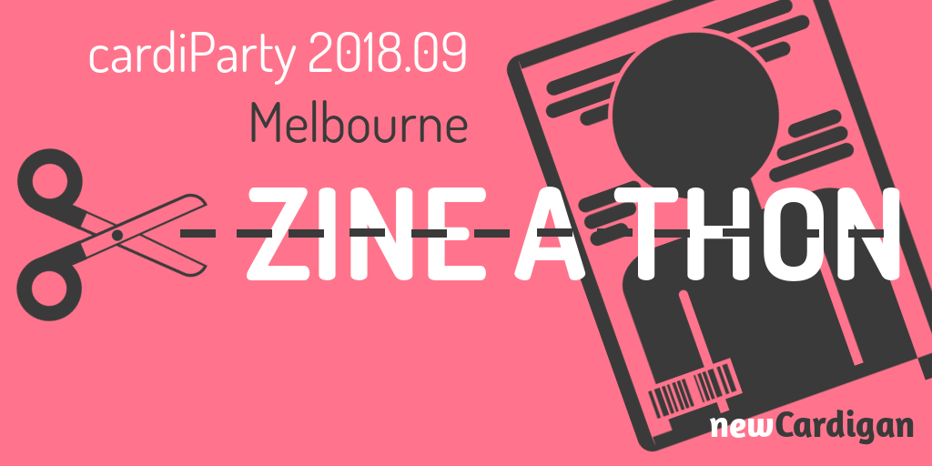 """""""Zine-a-thon"""" with an image of scissors cutting along a dotted line through the ext, and a magazine behind it."""