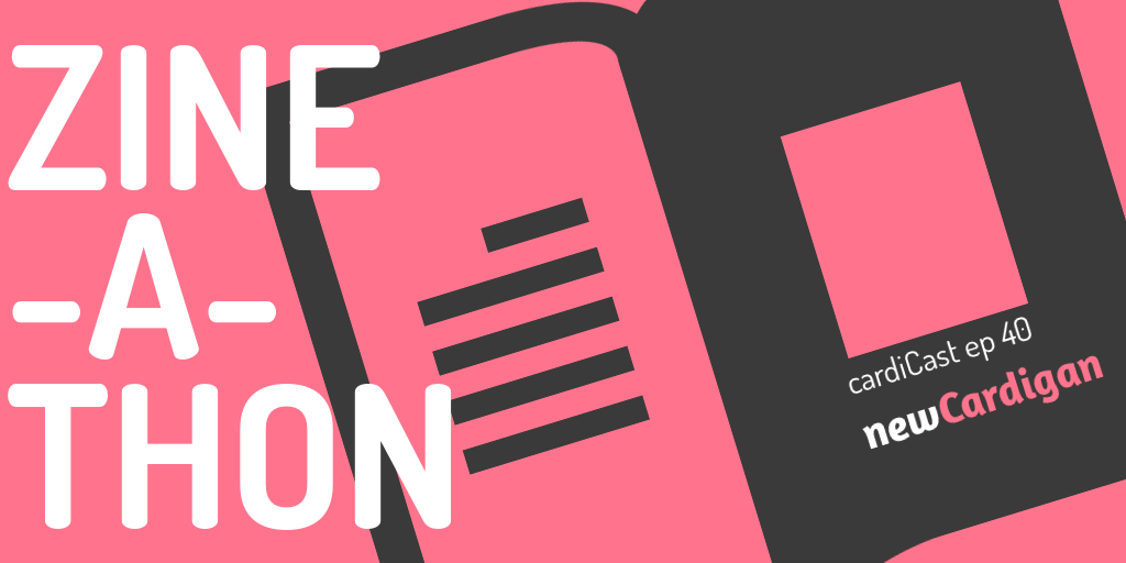 magazine outline in charcoal on pink background, with words 'ZINE-A-THON'