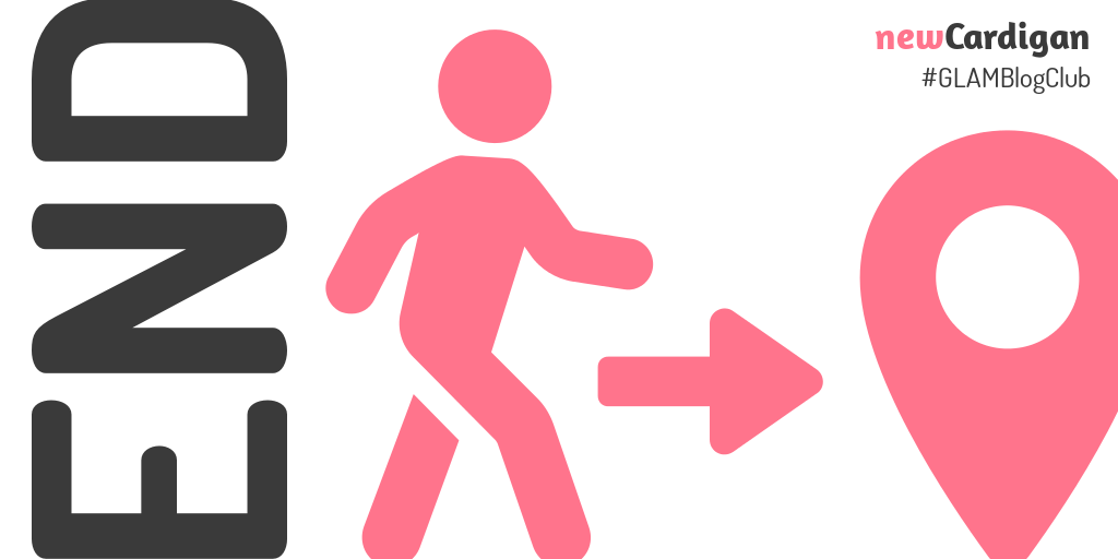 'END' with image of person walking towards a marker pin
