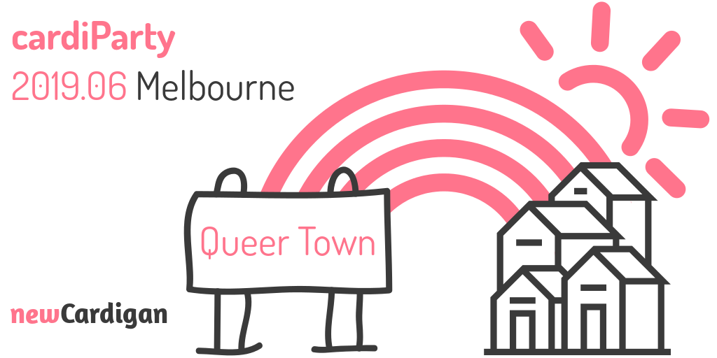"pink rainbow behind image of houses and a sign reading ""Queer Town"""